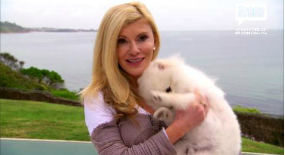 Gamble Breaux and her Dochlaggie puppy Cash in the Real Housewives of Melbourne